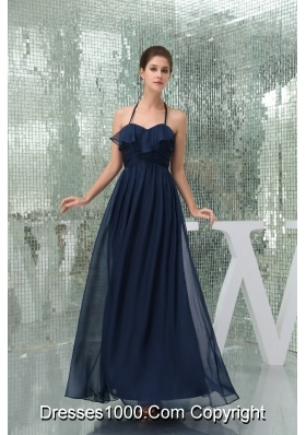 Column Navy Blue Ankle-length Halter Top Ruched Prom Dress for Ladies