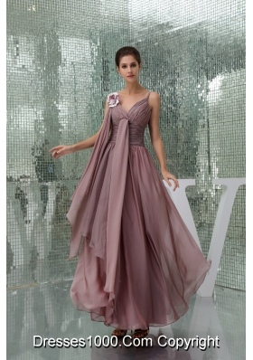 Elegant Spaghetti Straps Ruched Chiffon Prom Gown Dress