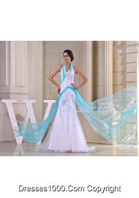 Halter Top Sweep/Brush Train Mermaid White Prom Dress with Ribbon