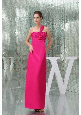 Hot Pink Ankle-length One Shoulder Prom Dress with Ruche Taffeta