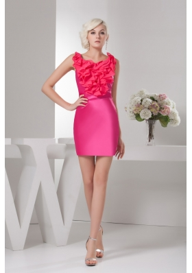 Hot Pink Scoop Neck Mini-length Prom Dress with Ruffles Decorate