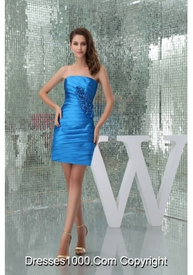 Hot Sale Blue Ruched Prom Dress with Handmade Flower Mini-length