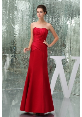 Mermaid Red Sweetheart Ruched Ankle-length Prom Dresses
