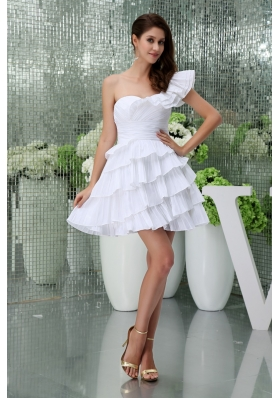 Petal Single Shoulder Ruching and Ruffled Layers Wedding Gown in White