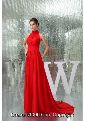 Pretty Chiffon High-neck Red Prom Dress Court Train in the Mainstream