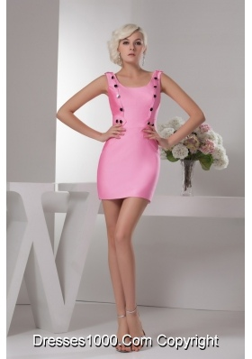 Pretty Sheath Scoop Neck Pink Mini-length Prom Dress for Girls