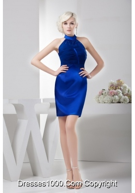 Royal Blue Mini-length High-neck Ruched Beaded Prom Dress