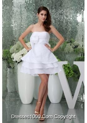 Ruffle-layers Mini-length White Wedding Dress with Handmade Flower