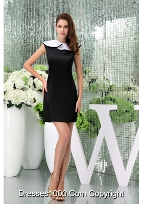 Simple Style Flounced Bateau Neck Black Satin Mini-length Prom Dress