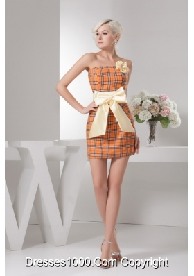 Special Fabric Mini-length Plaid Orange Prom Dress with Bowknot
