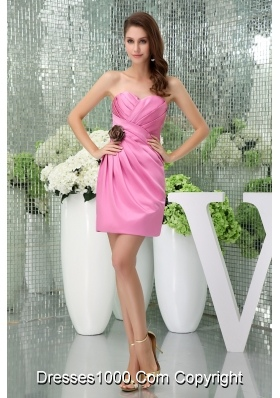 Sweetheart Pink Ruched Prom Dress Mini-length with Handmade Flower