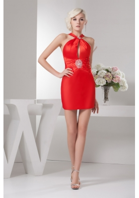 Taffeta Mini-length Red Ruched Beaded Prom Dress with Cutouts
