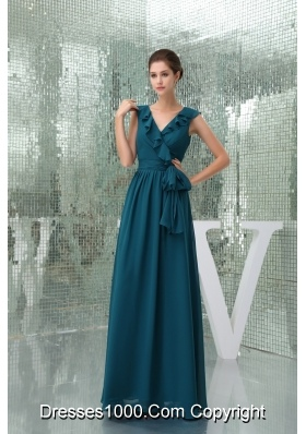 Teal Floor-length V-neck Column Prom Dress with Sash