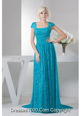 Teal Square Brush Train prom Dress with Cap Sleeves 2013