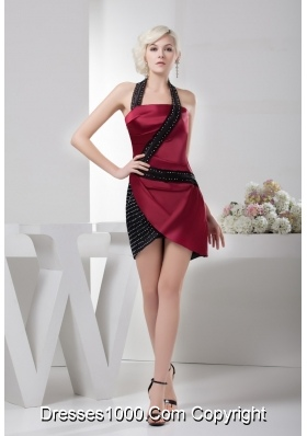 Unique Wine Red and Black Prom Dress with Beading Taffeta