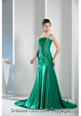 2014 Green One Shoulder Column Ruching Prom Gowns for Party