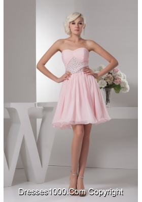 Baby Pink Sweetheart Ruche Beading Decorate Prom Gown Dress