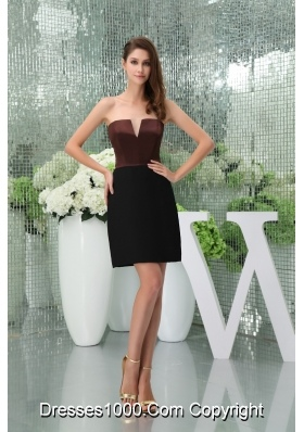 Black and Brown Slot Neck Sheath Prom Dress with Cut Out Straps