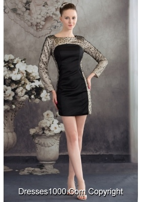 Black and Champagne Long Sleeves Scoop Sequined Prom Dress