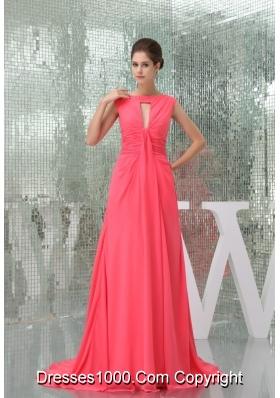 Chiffon Watermelon Red Brush Train Prom Dress with Cutout