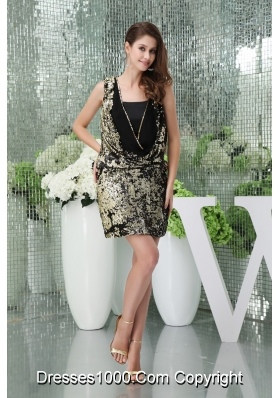 Column Sequin Black Prom Dress with Square Neckline Mini-length