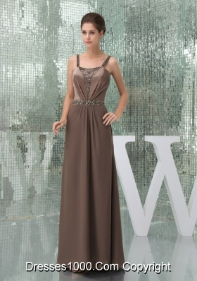 Column Straps Brown Outfit for Prom with Beading and Ruches
