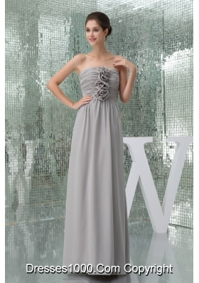 Empire Ruches and Flowers Accent on Long Chiffon Prom Dress
