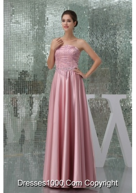 Empire Strapless Beaded Floor-length Prom Dress in Pink