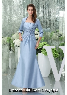 Light Blue Mermaid Beaded and Ruched Ankle-length Prom Outfit