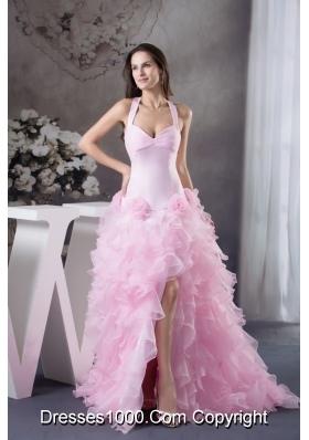 Light Pink Halter Top Ruffles Hand Made Flowers Prom Dress
