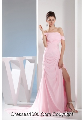 Light Pink Off The Shoulder Ruching and Beading Prom Dresses 2013
