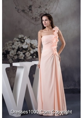 Light Pink One Shoulder Floor-length Prom Dress with Handmade Flower