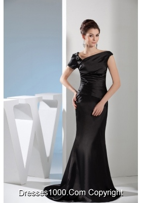 Mermaid Black Beaded Prom Dress with Asymmetrical Neck