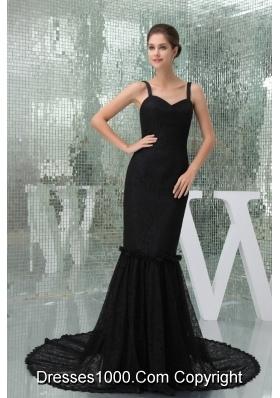 Mermaid Brush Train Spaghetti Straps Black Lace Prom Dress