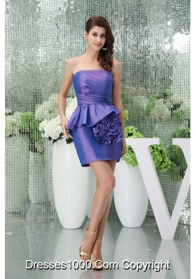 Mini-length Strapless Purple Prom Dress with Big Handmade Flower