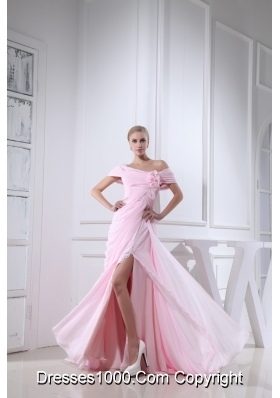 Off-the-shoulder Slitted Chiffon Prom Dress for Girls in Baby Pink