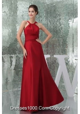 Ruched High-Neck Floor-length Column Prom Dress in Wine Red