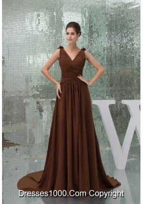 Ruches and Flowers Accent Brown Prom Dress with Court Train