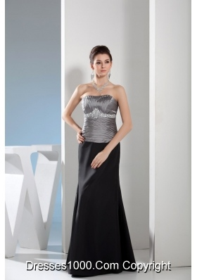 Silver and Black Column Sweetheart Ruched Beaded Prom Dress