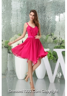 Spaghetti Straps Chiffon Hot Pink Prom Dress with Asymmetrical Hemline