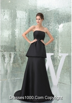 Strapless Black Brush Ruched Outfit for Prom with Peplum