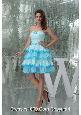 Sweet Ruffle-layers Strapless Aqua Blue Prom Dress for Girls