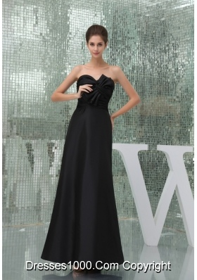 Sweetheart Ankle-length Black Prom Outfit for Weddings with Bowknot