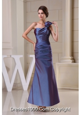 Taffeta One Shoulder Ankle-length Ruched Column Prom Dress