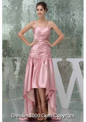 Taffeta Spaghetti Straps Ruched High-low Pink Prom Dress Column