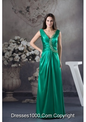 Teal V-neck Ruching Prom Dress with Beaded Appliques for Party
