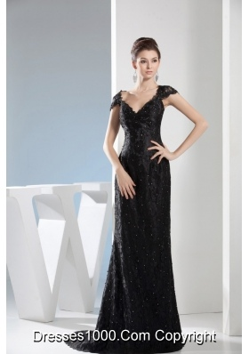 V-neck Beaded Black Lace Column Prom Dress with Brush Train
