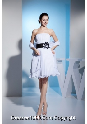 2013 White Strapless Pleats Prom Dress with Black Sashes