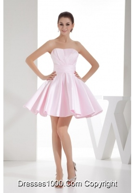 A-line Sweetheart Baby Pink Mini-length Prom Dress with Ruche