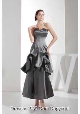 Ankle-length Slot Neckline Dim Grey Column Dress For Prom